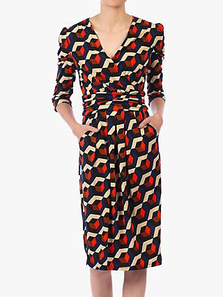 Jolie Moi Print Wrap Front Dress, Navy/Multi