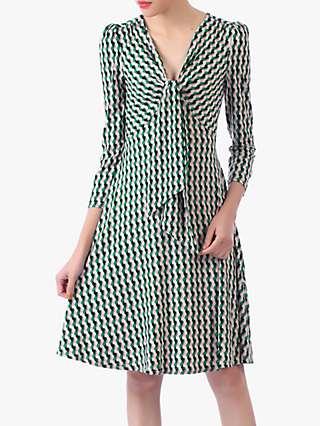 Jolie Moi Tie Front Sleeved Dress, Green/Multi