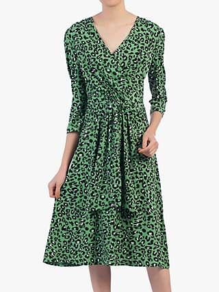Jolie Moi Wrap Front Belted Dress, Green/Multi