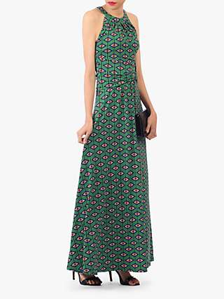 Jolie Moi Geometric Print Halter Neck Maxi Dress, Green/Multi