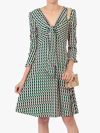 Jolie Moi Tie Front Geometric Print Dress, Pink/Multi