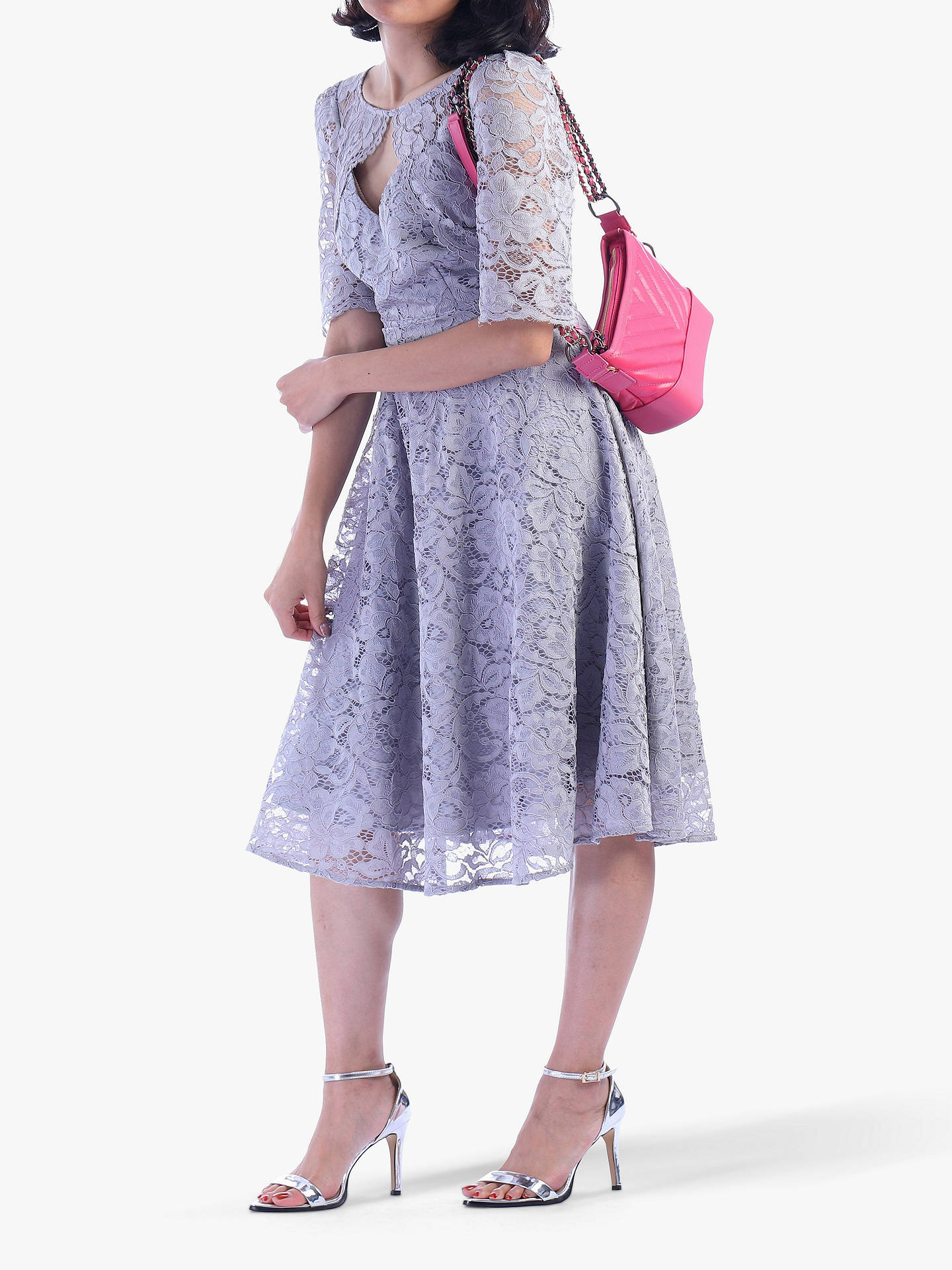 Buy Jolie Moi Fit And Flare Lace Midi Dress, Silver Grey, 8 Online at johnlewis.com