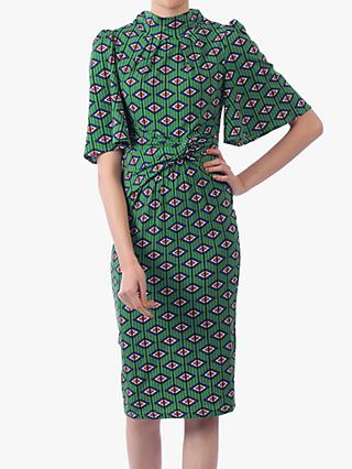 Jolie Moi Geometric Print High Neck Midi Dress, Green/Multi