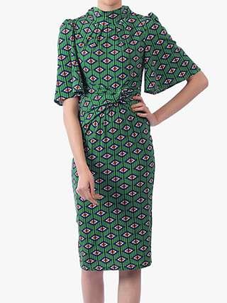 Jolie Moi Geometric Print High Neck Midi Dress, Green/Multi
