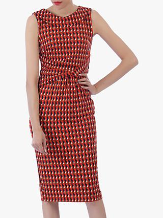Jolie Moi Roll Collar Sleeveless Shift Dress, Red/Multi