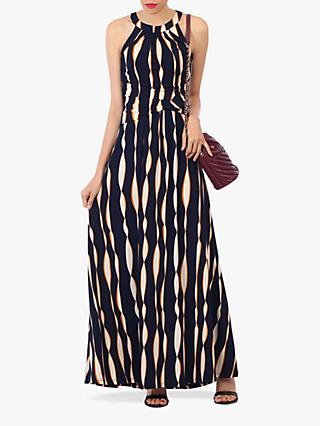 Jolie Moi Abstract Print Halter Neck Maxi Dress, Navy/Multi
