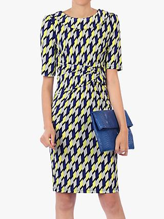 Jolie Moi Geometric Print Pencil Dress, Yellow/Multi