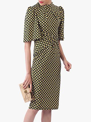 Jolie Moi Eyelet Print High Neck Midi Dress, Black/Yellow