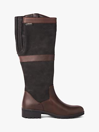 Dubarry Sligo Leather Knee Boots, Black/Brown