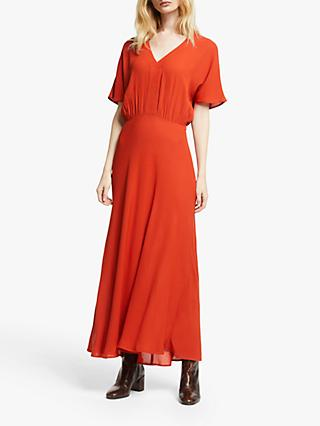 John Lewis & Partners Grown On Sleeve Dress, Dark Red