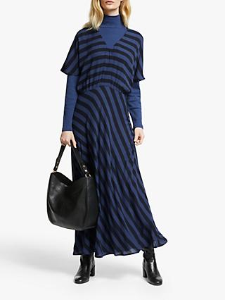 John Lewis & Partners Stripe Grown On Sleeve Dress, Blue