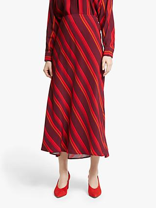 John Lewis & Partners Asymmetric Stripe Midi Skirt, Red
