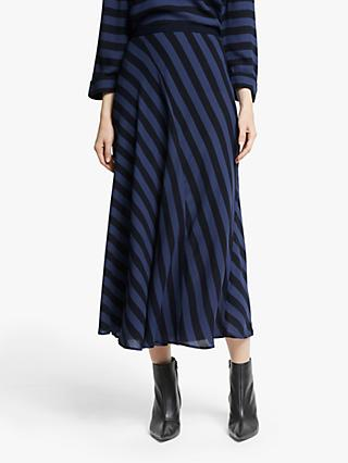 John Lewis & Partners Stripe Midi Skirt, Blue/Black