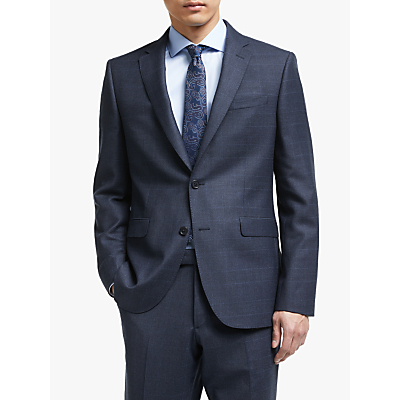 John Lewis & Partners Italian Zegna Wool Check Tailored Suit Jacket, Navy