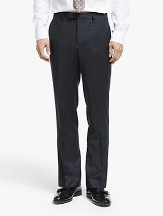 John Lewis & Partners Zegna Wool Wide Stripe Tailored Suit Trousers, Navy