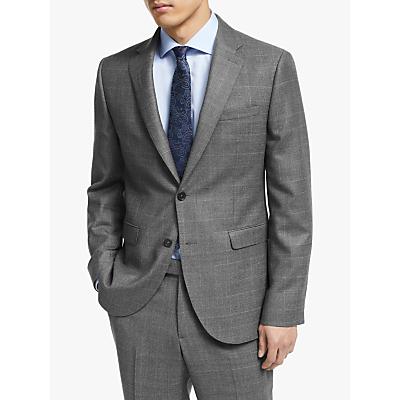 John Lewis & Partners Italian Zegna Wool Check Tailored Suit Jacket, Grey