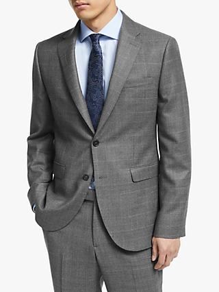 John Lewis & Partners Italian Zegna Wool Check Tailored Suit Jacket, Grey