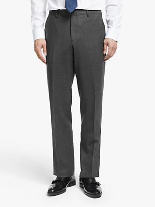 John Lewis & Partners Zegna Semi Plain Wool Tailored Suit Trousers, Charcoal