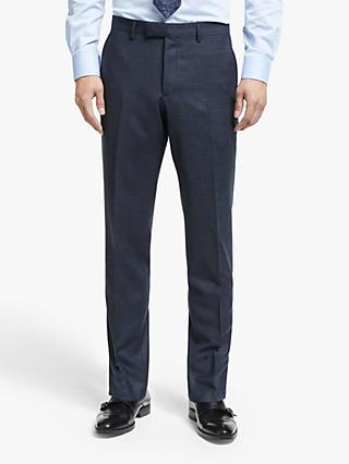 John Lewis & Partners Italian Zegna Wool Check Tailored Suit Trousers, Navy