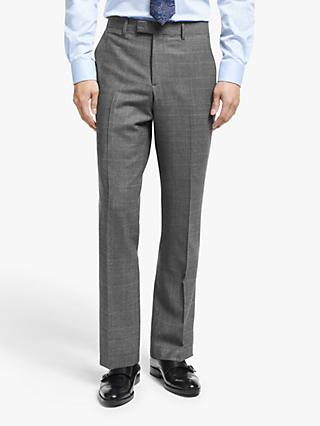 John Lewis & Partners Italian Zegna Wool Check Tailored Suit Trousers, Grey