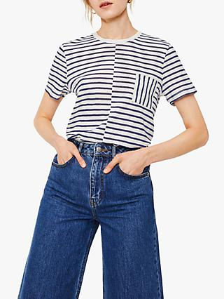 Warehouse Stripe Sheer Cotton Cutabout T-Shirt, Blue