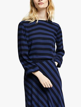 John Lewis & Partners Stripe Shell Top, Blue/Black