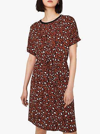 Warehouse Knot Leopard Print Dress, Brown