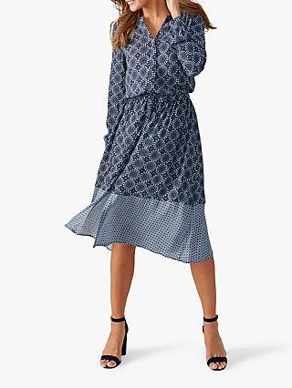 Pure Collection Tile Print Drawstring Dress, Navy