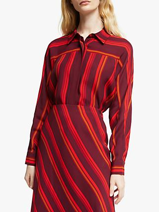 John Lewis & Partners Seam Detail Stripe Shirt, Red