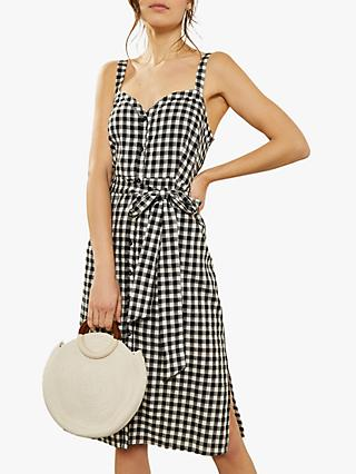 Mint Velvet Gingham Dress, Black/Multi