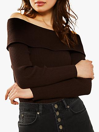 Mint Velvet Bardot Ribbed Knit, Brown