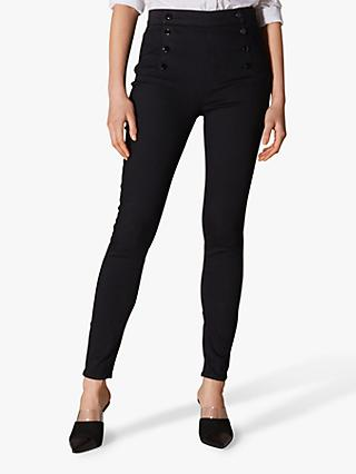Karen Millen Button Detail Skinny Jeans, Black