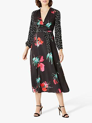 Coast Evie Rose Print Dress, Black/Multi