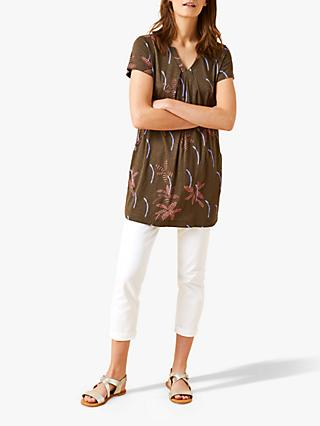 White Stuff Rice Flower Print Tunic Top, Grove Green Print
