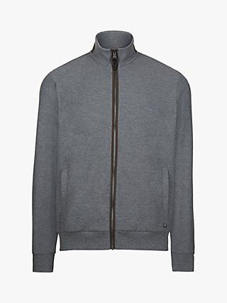 Hackett London Jersey Zip Hoodie, Mid Grey