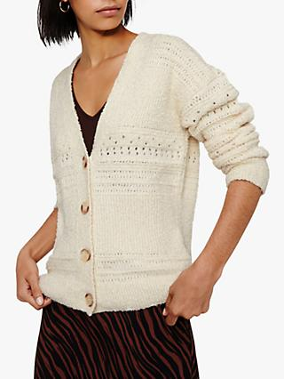 Warehouse Textured Cotton Yarn Cardigan, White