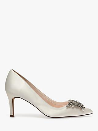 Rainbow Club Amara Stiletto Heel Court Shoes, Ivory Satin