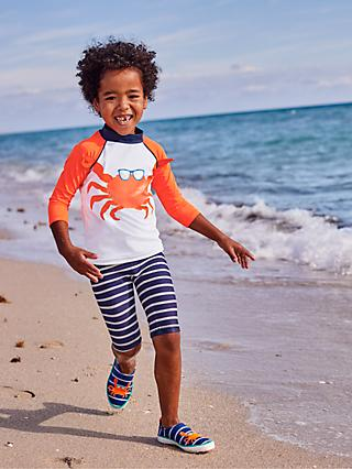 Mini Boden Boys' Surf Suit, White/Orange