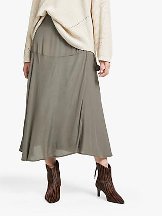 AND/OR Wrap Midi Skirt, Khaki