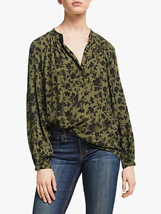 AND/OR Liberty Marakesh Floral Blouse, Khaki/Black