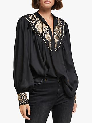 AND/OR Frida Embroidered Blouse, Black