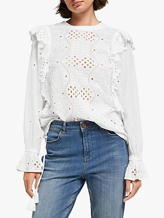 AND/OR Mabel Cutwork Frill Top, Ivory
