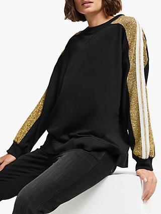 AND/OR Mila Glitter Stripe Sweatshirt, Black/Gold