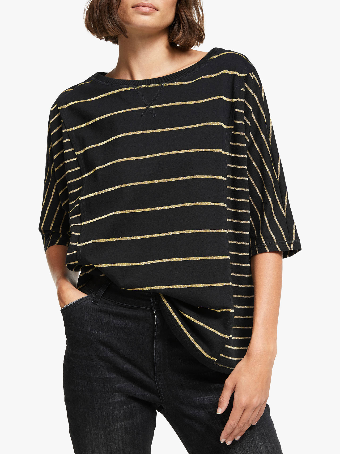 33e68ecc78 Somerset by Alice Temperley Maya Glitter Stripe T-Shirt, Black/Gold