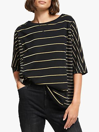 AND/OR Maya Glitter Stripe T-Shirt, Black/Gold