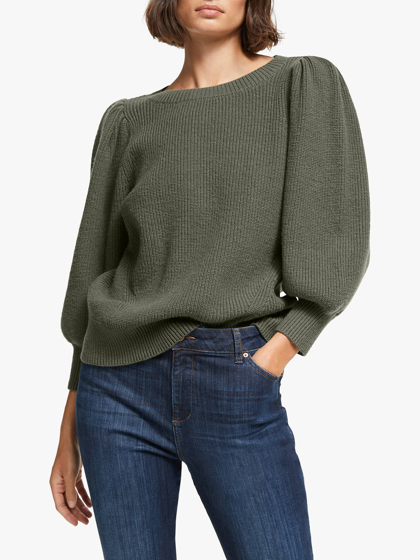 And/Or Jasmin Puff Sleeve Jumper, Khaki by And/Or