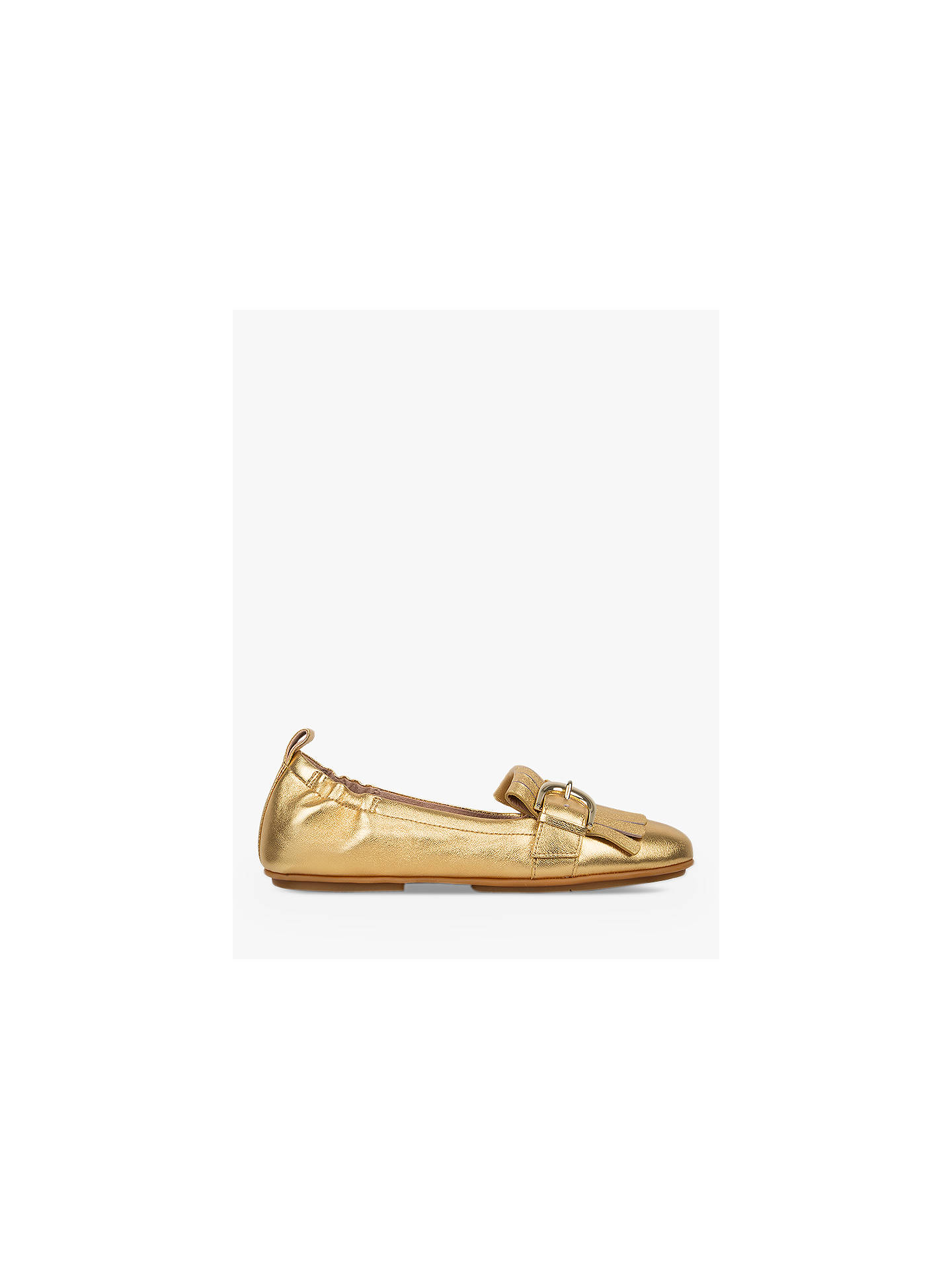 Fitflop Allegro Fringe Flat Loafer Pumps Gold Leather At John Lewis