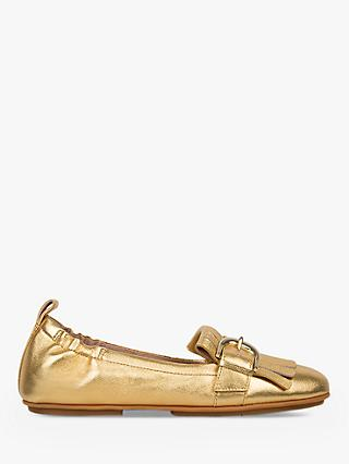 Fitflop Allegro Fringe Flat Loafer Pumps, Gold Leather