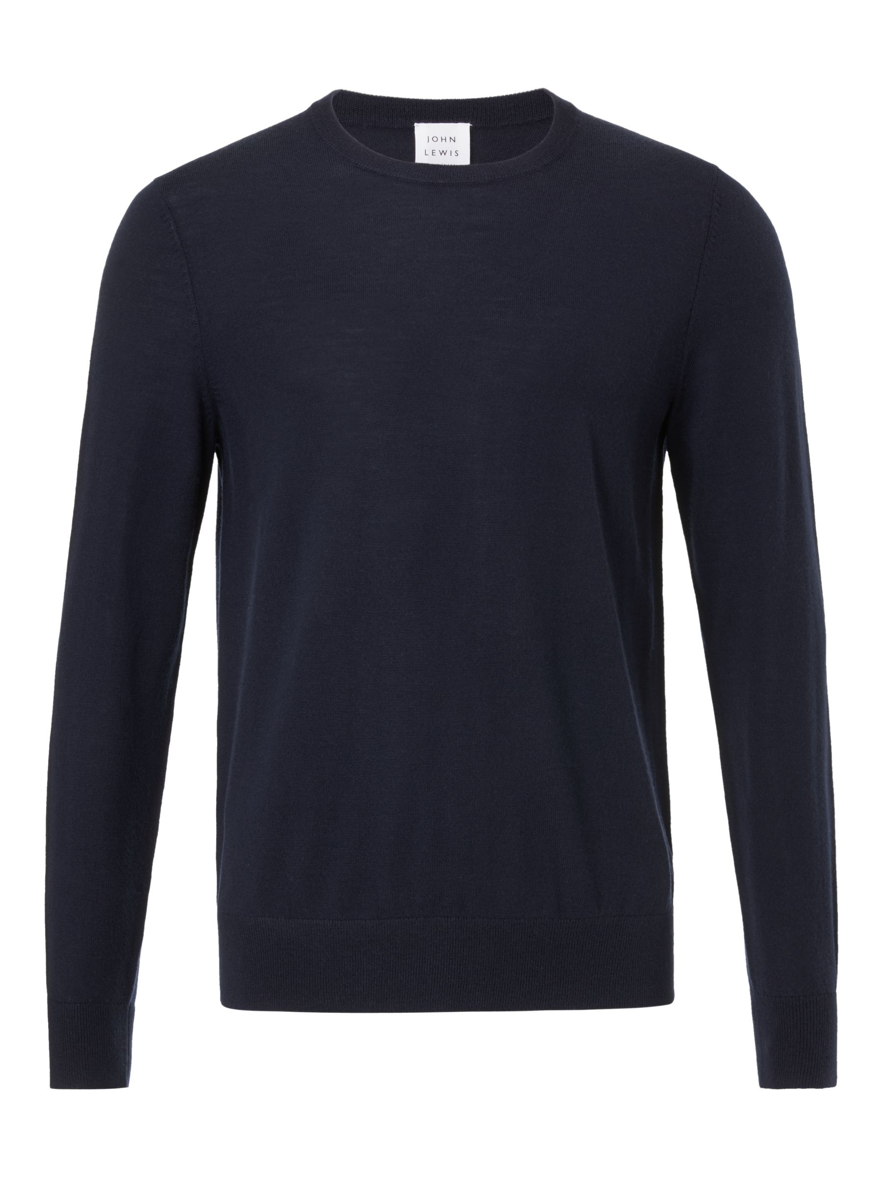 Buy John Lewis & Partners Extra Fine Merino Crew Neck Jumper, Navy, S Online at johnlewis.com