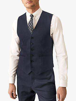 Reiss Shark Textured Modern Fit Waistcoat, Airforce Blue